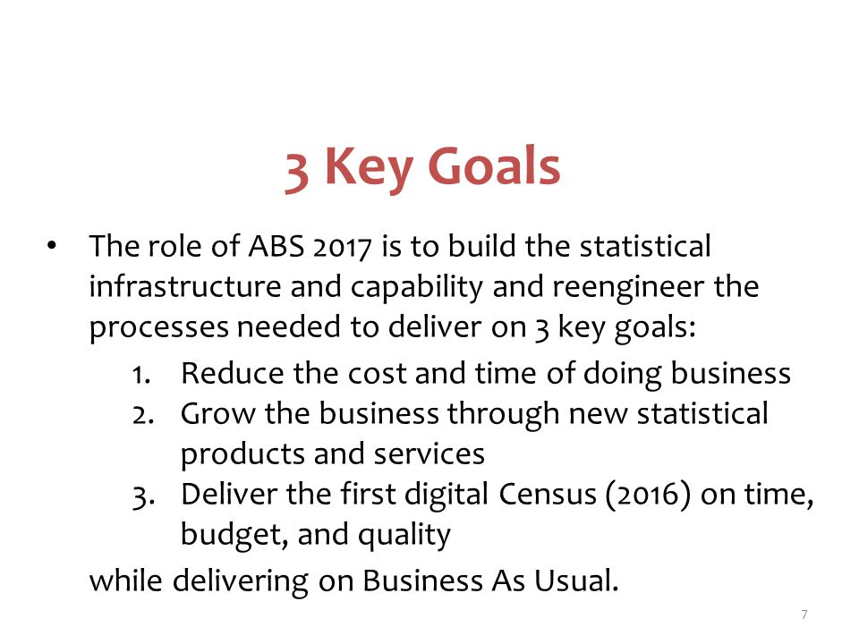3 Key Goals The role of ABS 2017 is to build the statistical infrastructure and capability and reengineer the processes needed to deliver on 3 key goals: 1.Reduce the cost and time of doing business 2.Grow the business through new statistical products and services 3.Deliver the first digital Census (2016) on time, budget, and quality while delivering on Business As Usual.