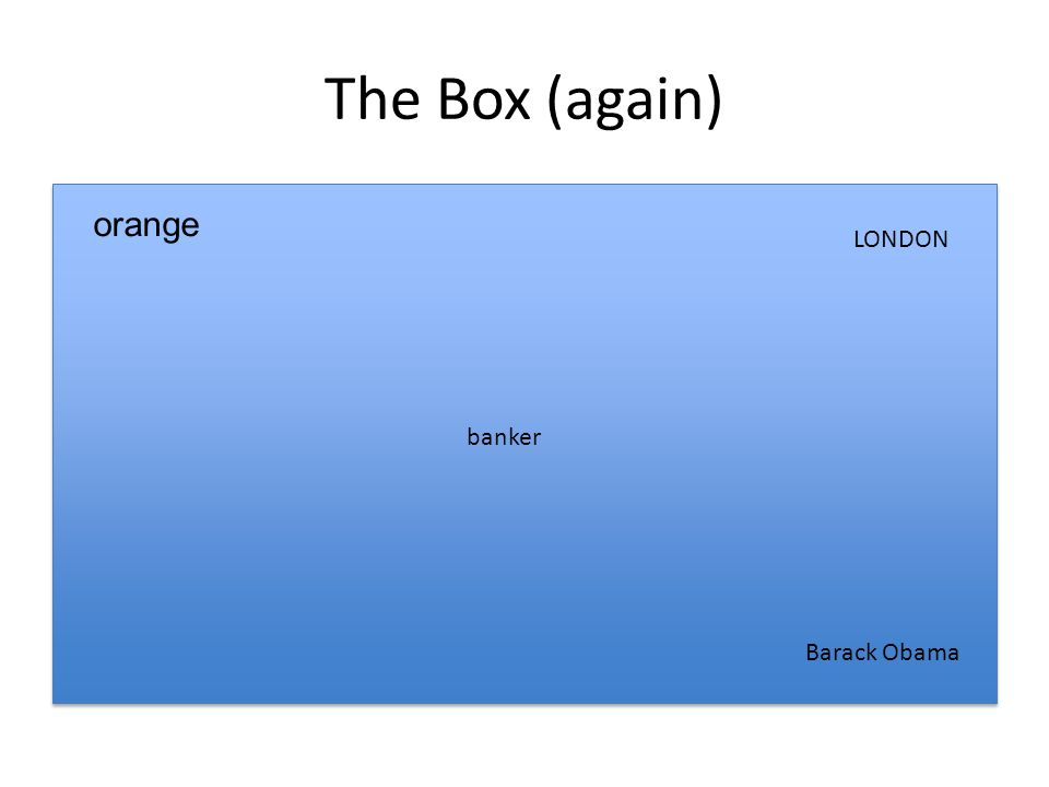 The Box (again) banker LONDON orange Barack Obama
