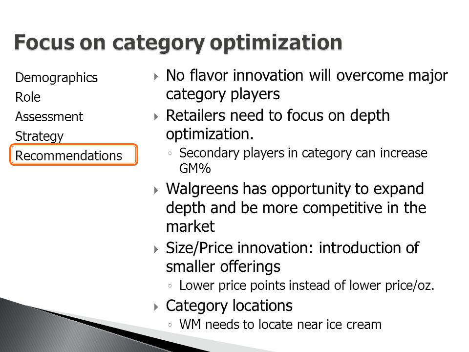 Demographics Role Assessment Strategy Recommendations  No flavor innovation will overcome major category players  Retailers need to focus on depth optimization.