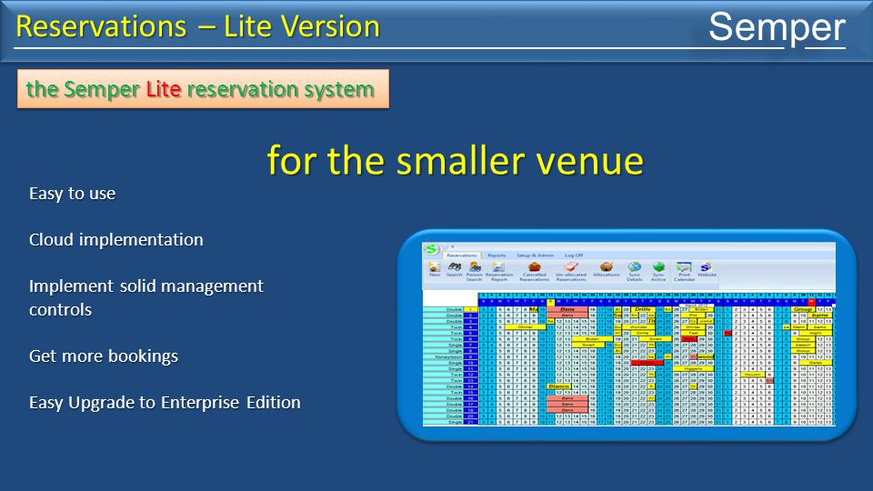Semper Reservations – Lite Version Many people can work with the same information from any location in the world Manager at the venue Owner in the car using a laptop and 3g connection Reservationist in London Central Hosted Server Central Hosted Server the Semper Lite reservation system Internet