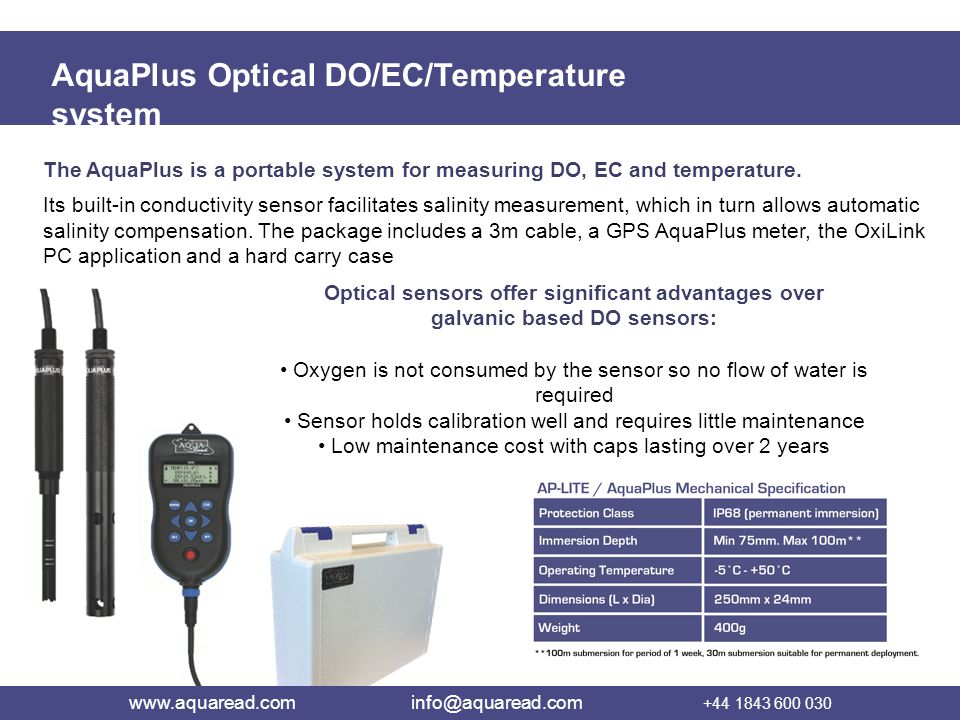 AquaPlus Optical DO/EC/Temperature system The AquaPlus is a portable system for measuring DO, EC and temperature. Its built-in conductivity sensor fac