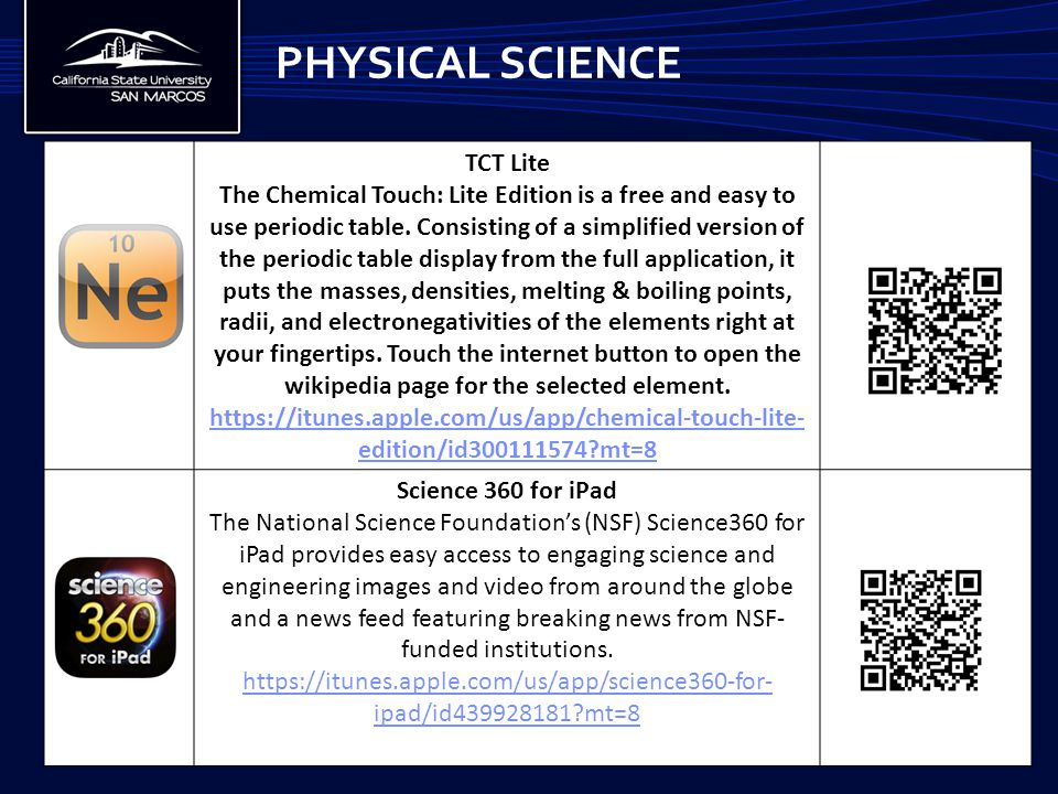 PHYSICAL SCIENCE TCT Lite The Chemical Touch: Lite Edition is a free and easy to use periodic table. Consisting of a simplified version of the periodi