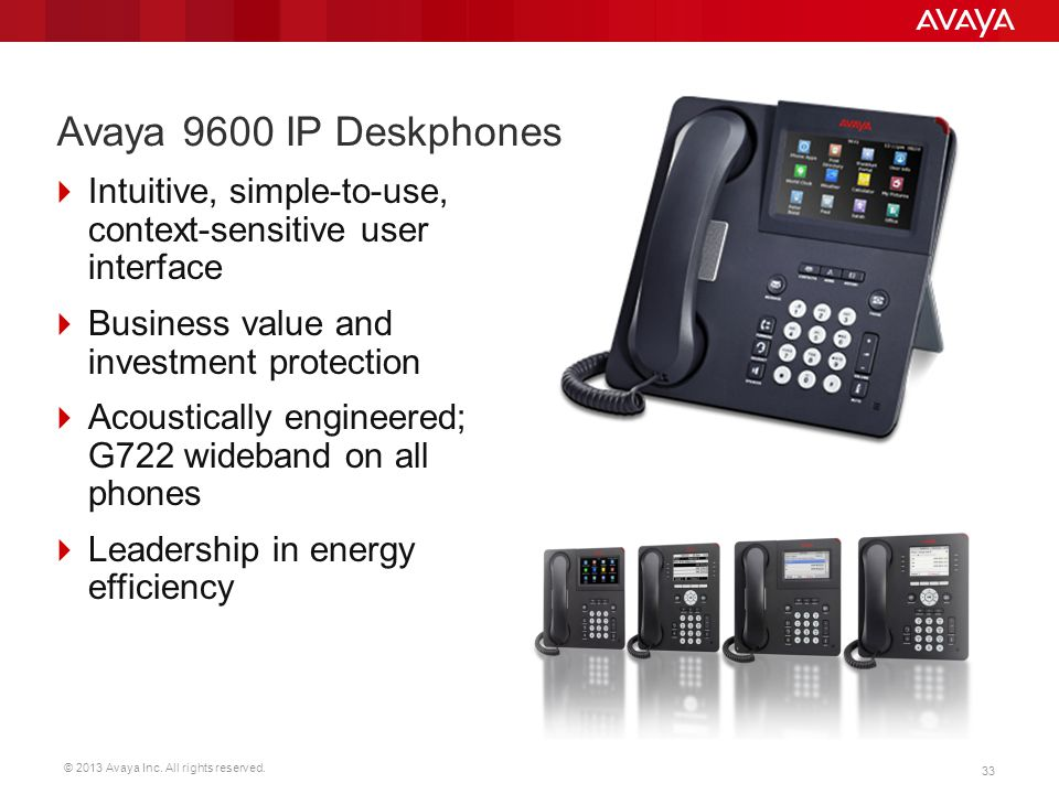 © 2013 Avaya Inc. All rights reserved. 33 Avaya 9600 IP Deskphones  Intuitive, simple-to-use, context-sensitive user interface  Business value and i