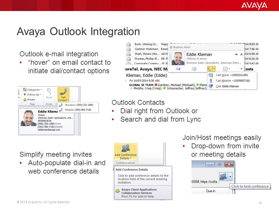 """© 2013 Avaya Inc. All rights reserved. 42 Avaya Outlook Integration Outlook e-mail integration """"hover"""" on email contact to initiate dial/contact optio"""