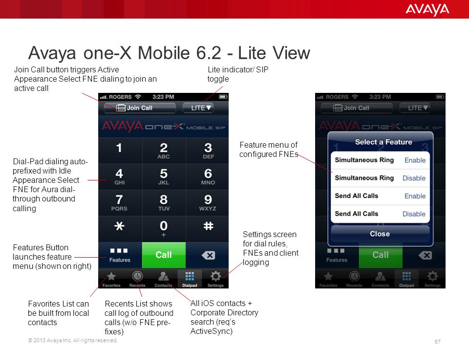© 2013 Avaya Inc. All rights reserved. 67 Avaya one-X Mobile 6.2 - Lite View Lite indicator/ SIP toggle Join Call button triggers Active Appearance Se