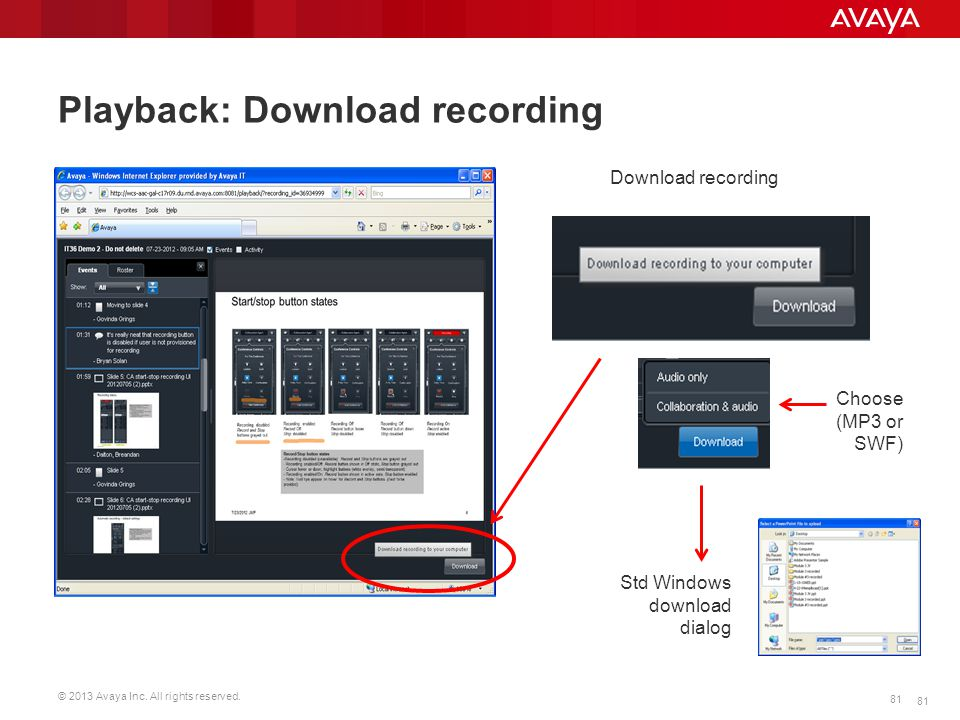 © 2013 Avaya Inc. All rights reserved. 81 Download recording Std Windows download dialog Choose (MP3 or SWF) Playback: Download recording