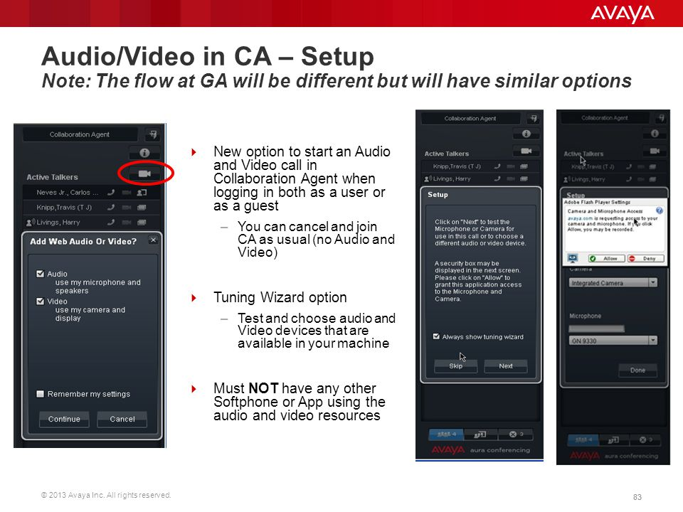 © 2013 Avaya Inc. All rights reserved. 83 Audio/Video in CA – Setup Note: The flow at GA will be different but will have similar options  New option