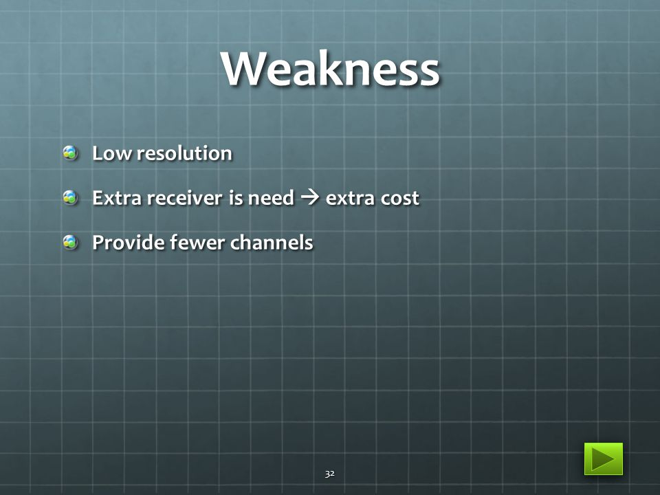 Weakness Low resolution Extra receiver is need  extra cost Provide fewer channels 32