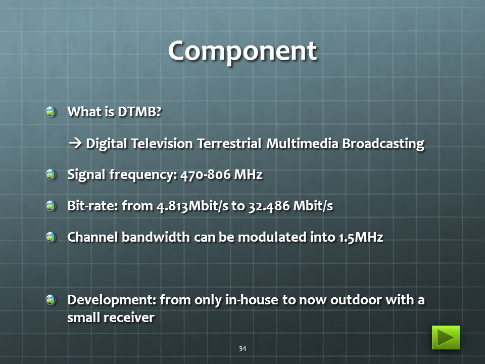 Component What is DTMB?  Digital Television Terrestrial Multimedia Broadcasting  Digital Television Terrestrial Multimedia Broadcasting Signal frequ