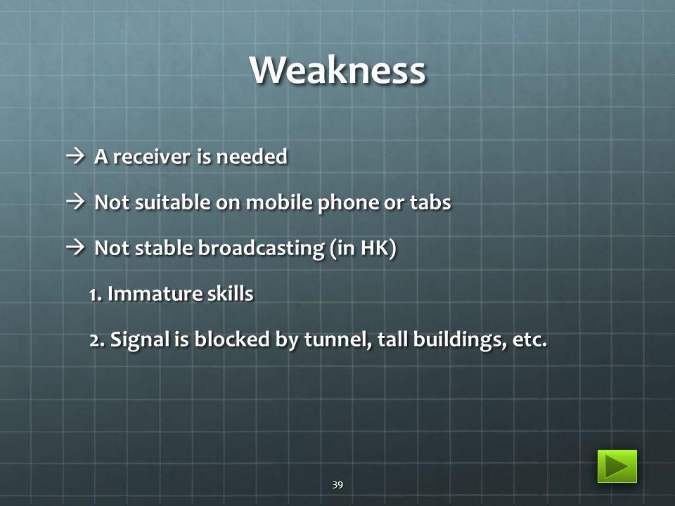 Weakness  A receiver is needed  Not suitable on mobile phone or tabs  Not stable broadcasting (in HK) 1. Immature skills 1. Immature skills 2. Sign