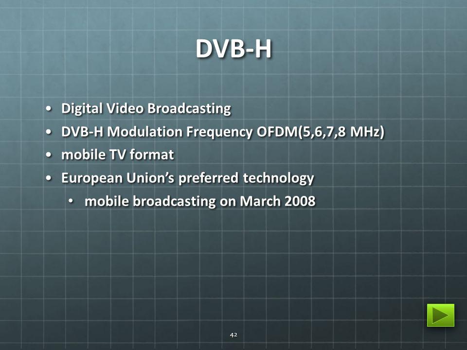 DVB-H Digital Video BroadcastingDigital Video Broadcasting DVB-H Modulation Frequency OFDM(5,6,7,8 MHz)DVB-H Modulation Frequency OFDM(5,6,7,8 MHz) mo