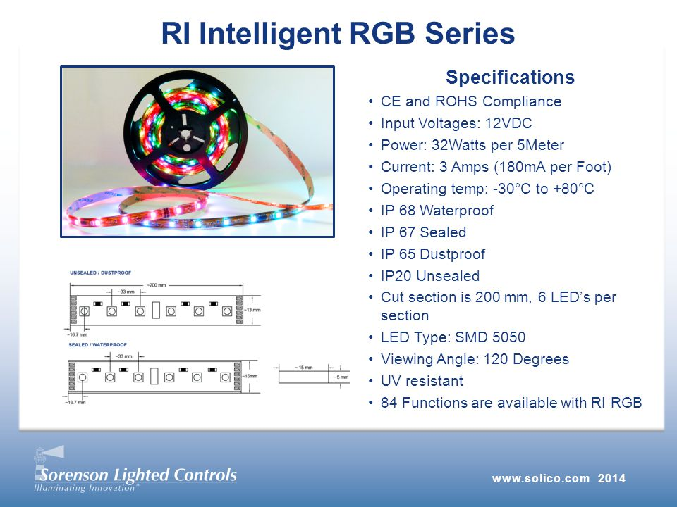 RI Intelligent RGB Series Specifications CE and ROHS Compliance Input Voltages: 12VDC Power: 32Watts per 5Meter Current: 3 Amps (180mA per Foot) Operating temp: -30°C to +80°C IP 68 Waterproof IP 67 Sealed IP 65 Dustproof IP20 Unsealed Cut section is 200 mm, 6 LED's per section LED Type: SMD 5050 Viewing Angle: 120 Degrees UV resistant 84 Functions are available with RI RGB