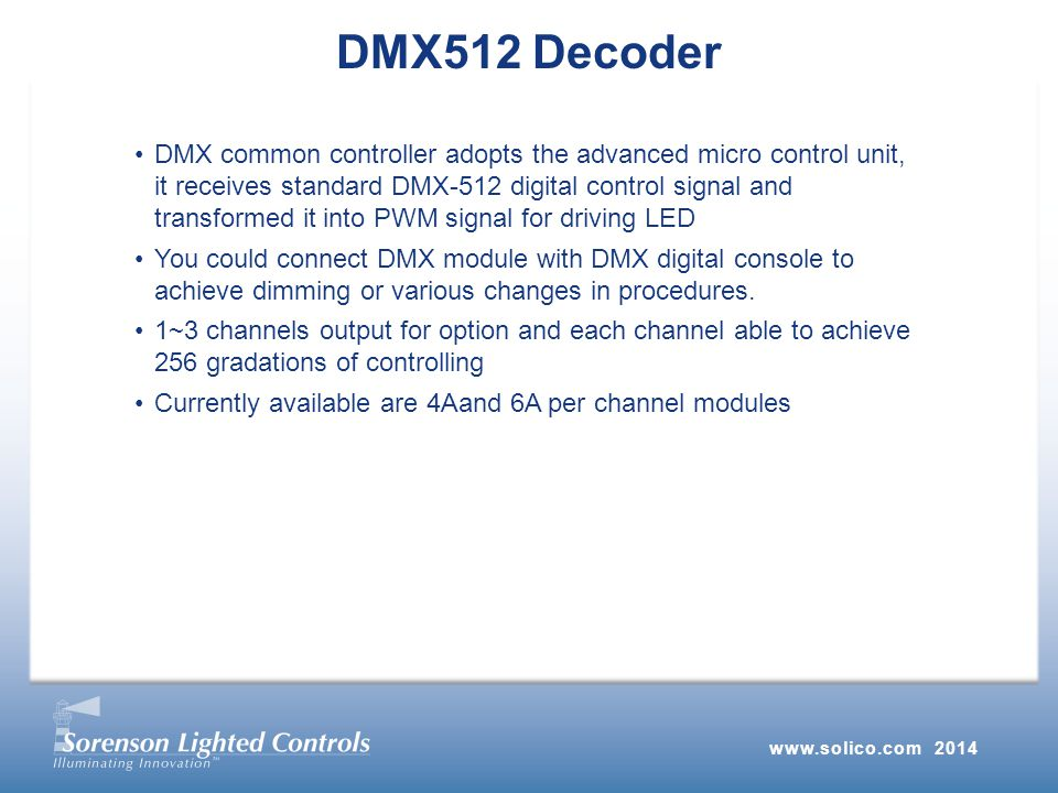 DMX common controller adopts the advanced micro control unit, it receives standard DMX-512 digital control signal and transformed it into PWM signal for driving LED You could connect DMX module with DMX digital console to achieve dimming or various changes in procedures.