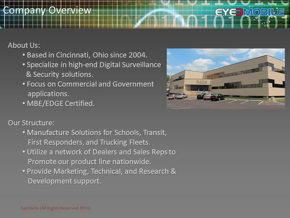 Eye3data (All Rights Reserved 2014) Company Overview About Us: Based in Cincinnati, Ohio since 2004.
