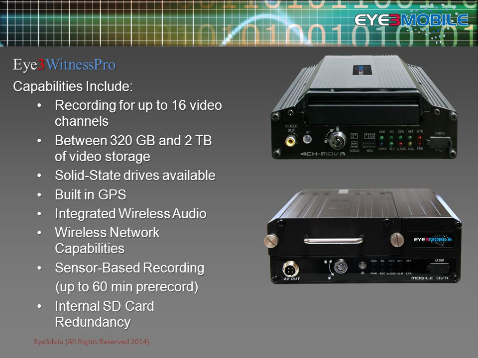 Eye3data (All Rights Reserved 2014) Capabilities Include: Recording for up to 16 video channelsRecording for up to 16 video channels Between 320 GB and 2 TB of video storageBetween 320 GB and 2 TB of video storage Solid-State drives availableSolid-State drives available Built in GPSBuilt in GPS Integrated Wireless AudioIntegrated Wireless Audio Wireless Network CapabilitiesWireless Network Capabilities Sensor-Based RecordingSensor-Based Recording (up to 60 min prerecord) (up to 60 min prerecord) Internal SD Card RedundancyInternal SD Card Redundancy Eye3WitnessPro