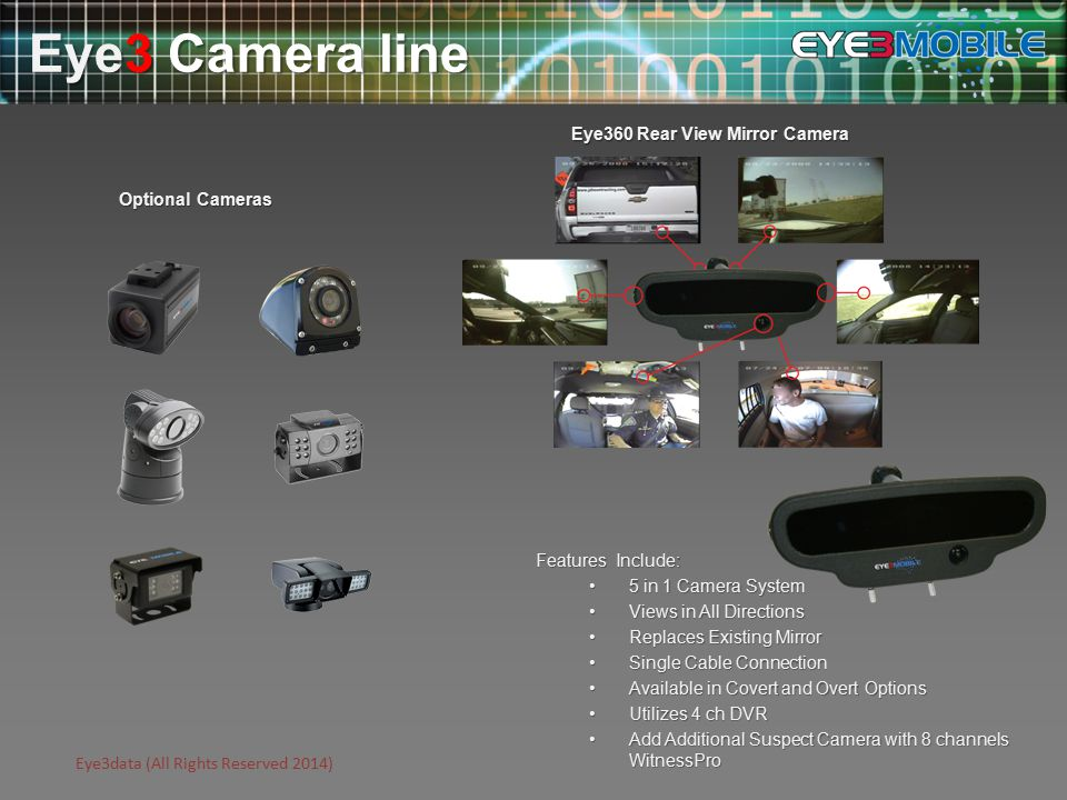 Eye3data (All Rights Reserved 2014) Features Include: 5 in 1 Camera System5 in 1 Camera System Views in All DirectionsViews in All Directions Replaces Existing MirrorReplaces Existing Mirror Single Cable ConnectionSingle Cable Connection Available in Covert and Overt OptionsAvailable in Covert and Overt Options Utilizes 4 ch DVRUtilizes 4 ch DVR Add Additional Suspect Camera with 8 channels WitnessProAdd Additional Suspect Camera with 8 channels WitnessPro Eye3 Camera line Optional Cameras Eye360 Rear View Mirror Camera
