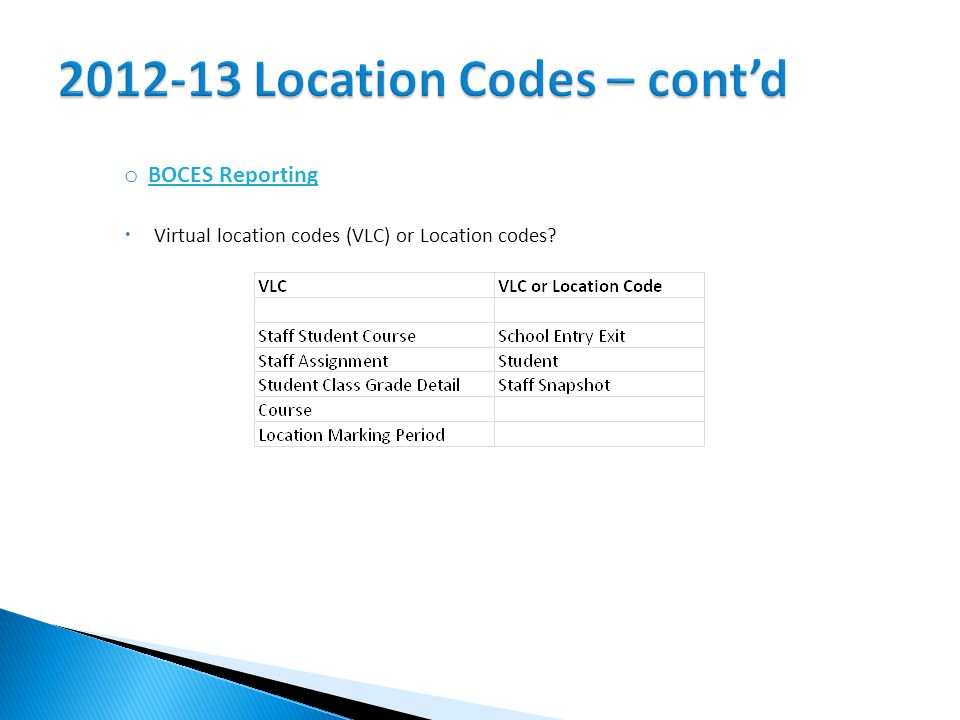 o BOCES Reporting  Virtual location codes (VLC) or Location codes
