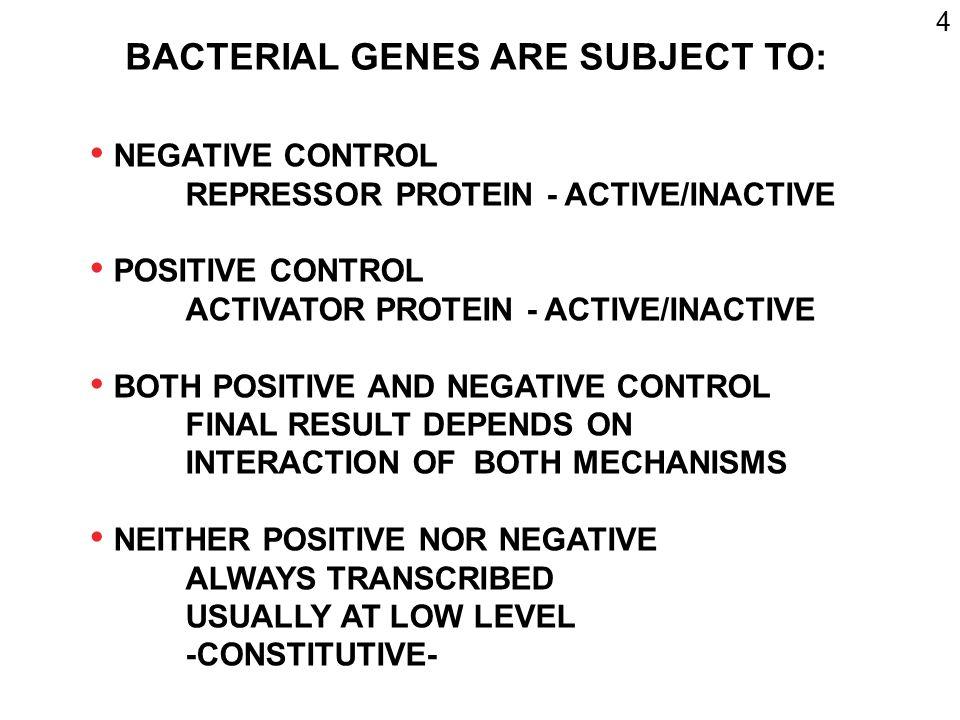 5 TRANSCRIPTION CONTROL (INITIATION) REPRESSOR CONTROLS NEGATIVELY REPRESSOR GENE REPRESSOR mRNA REPRESSOR ACTIVE/INACTIVE DEPENDS ON ENVIRONMENT 3 5 3