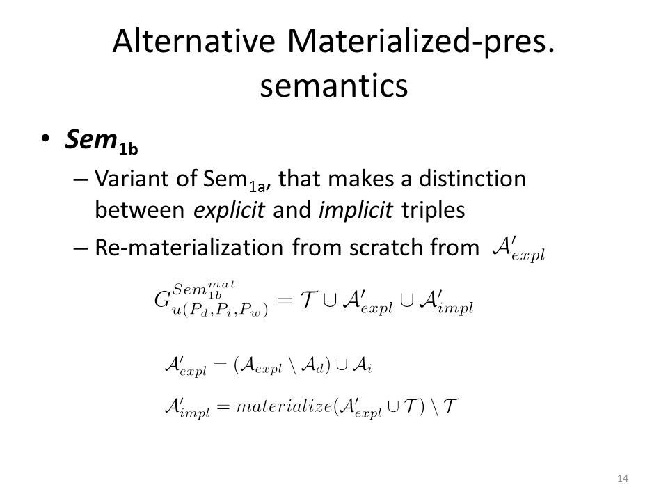 Alternative Materialized-pres.