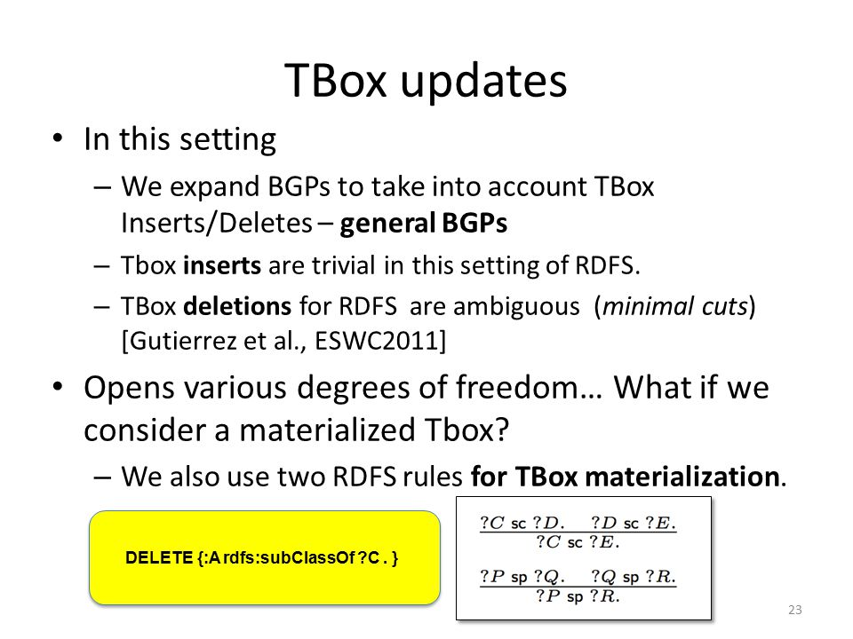 TBox updates In this setting – We expand BGPs to take into account TBox Inserts/Deletes – general BGPs – Tbox inserts are trivial in this setting of RDFS.