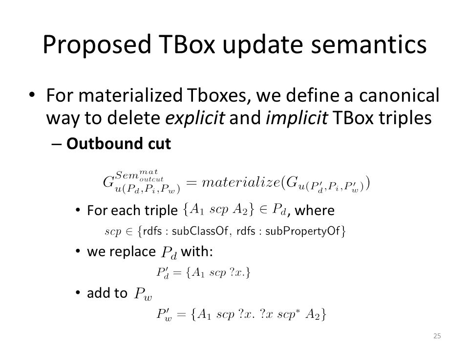 Proposed TBox update semantics For materialized Tboxes, we define a canonical way to delete explicit and implicit TBox triples – Outbound cut For each
