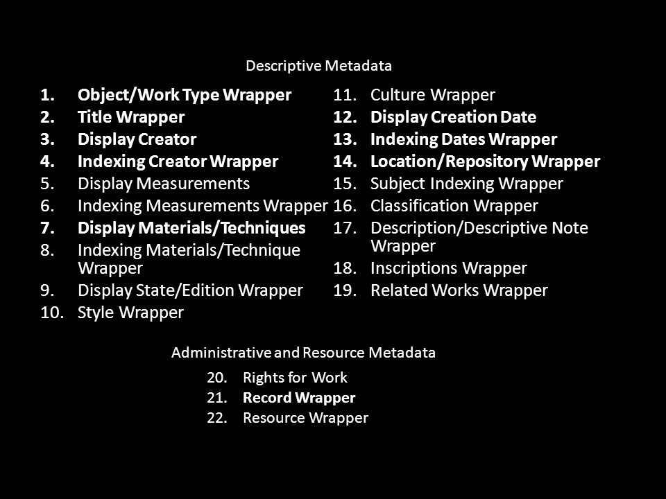 1.Object/Work Type Wrapper 2.Title Wrapper 3.Display Creator 4.Indexing Creator Wrapper 5.Display Measurements 6.Indexing Measurements Wrapper 7.Display Materials/Techniques 8.Indexing Materials/Technique Wrapper 9.Display State/Edition Wrapper 10.Style Wrapper 11.Culture Wrapper 12.Display Creation Date 13.Indexing Dates Wrapper 14.Location/Repository Wrapper 15.Subject Indexing Wrapper 16.Classification Wrapper 17.Description/Descriptive Note Wrapper 18.Inscriptions Wrapper 19.Related Works Wrapper 20.