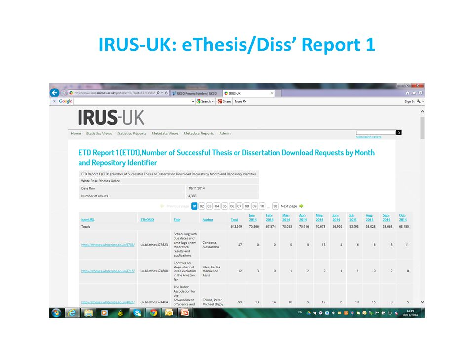 IRUS-UK: eThesis/Diss' Report 1