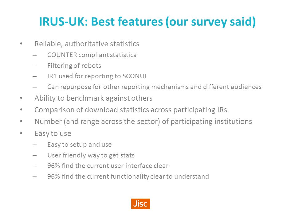 IRUS-UK: Value An altmetric that no-one else is providing - yet.