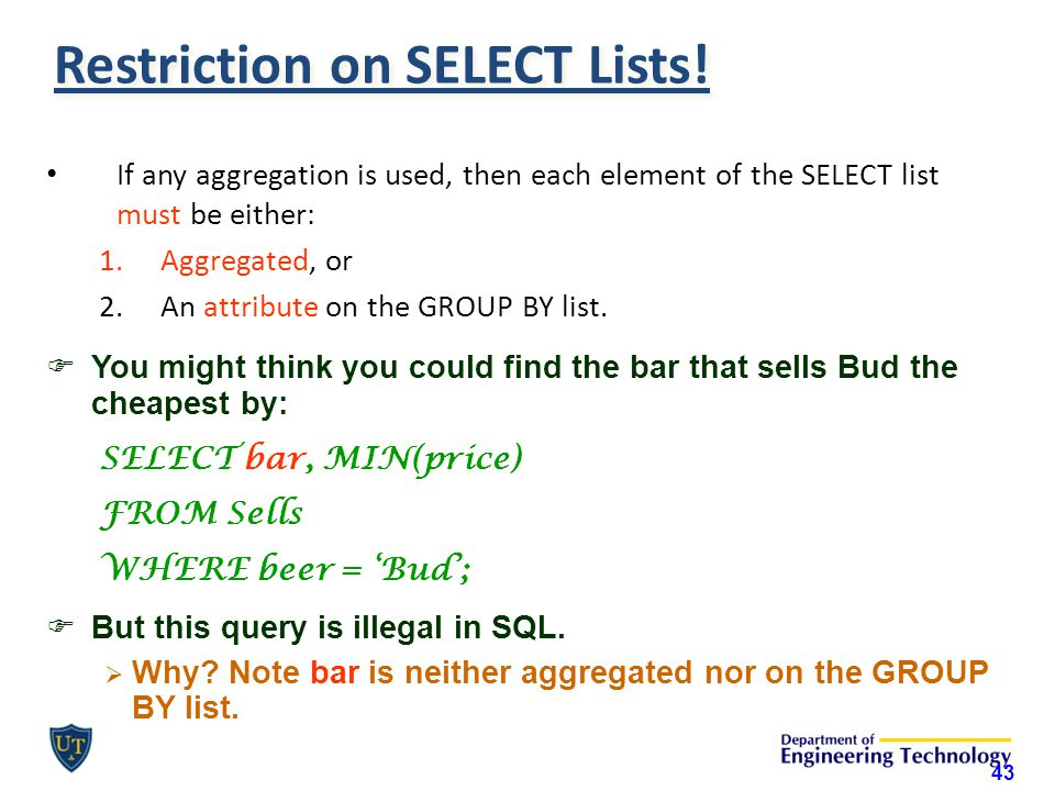 Restriction on SELECT Lists.
