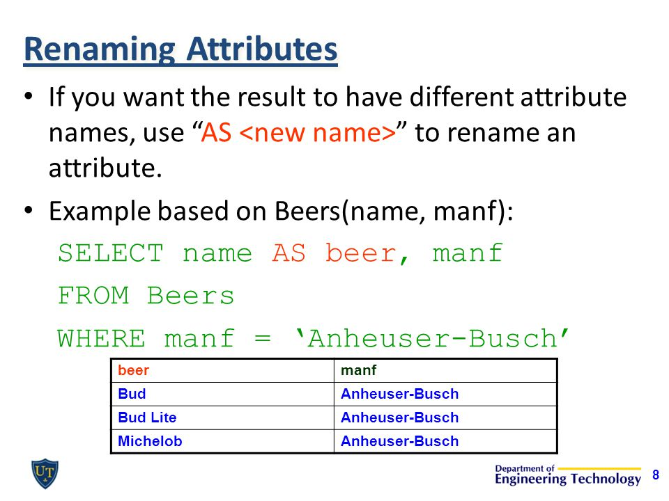 Renaming Attributes If you want the result to have different attribute names, use AS to rename an attribute.
