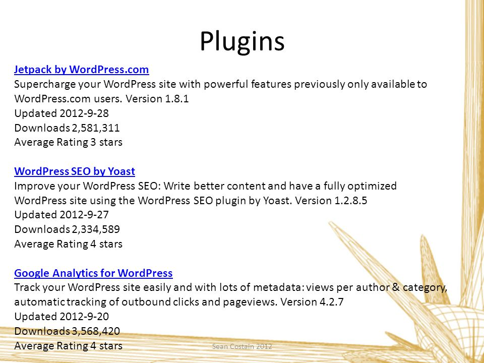 Plugins Sean Costain 2012 Jetpack by WordPress.com Supercharge your WordPress site with powerful features previously only available to WordPress.com u