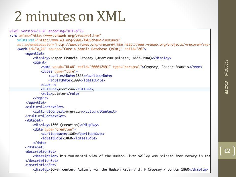 6/19/2013 SEI 2013 12 2 minutes on XML