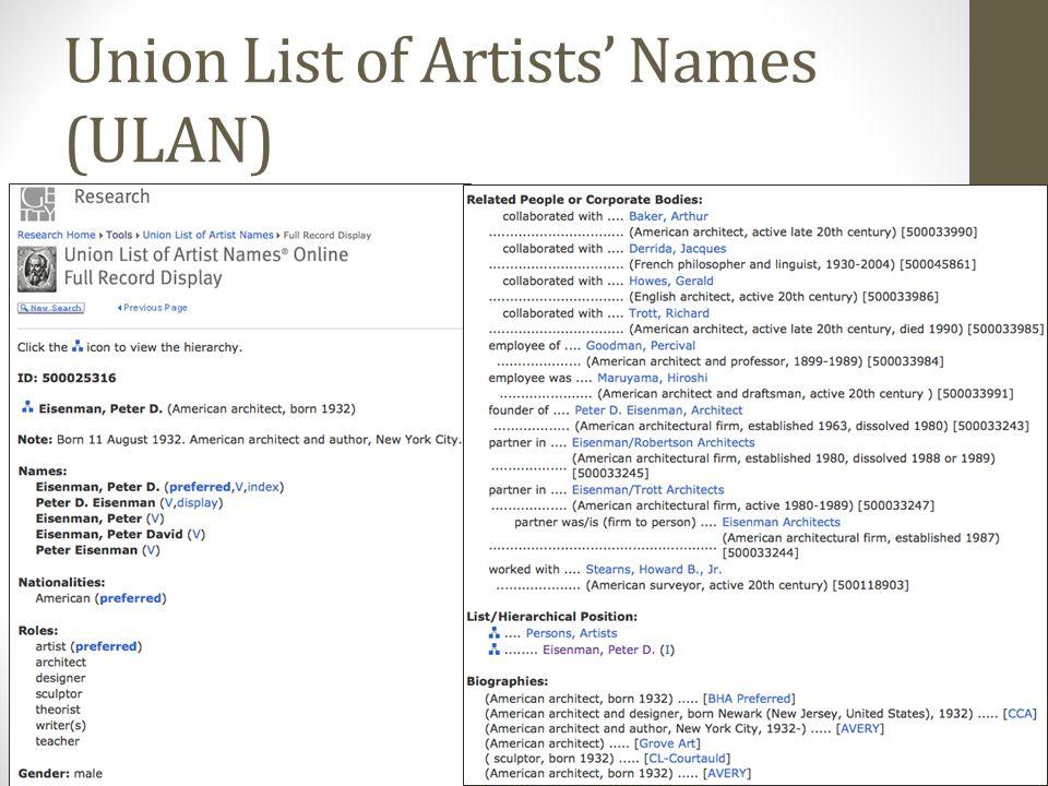 Union List of Artists' Names (ULAN) 6/19/2013 SEI 2013 38