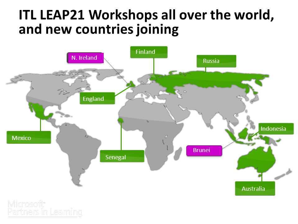 ITL LEAP21 Workshops all over the world, and new countries joining Finland Russia Australia Indonesia Senegal Mexico England Sponsored globally by Brunei N.