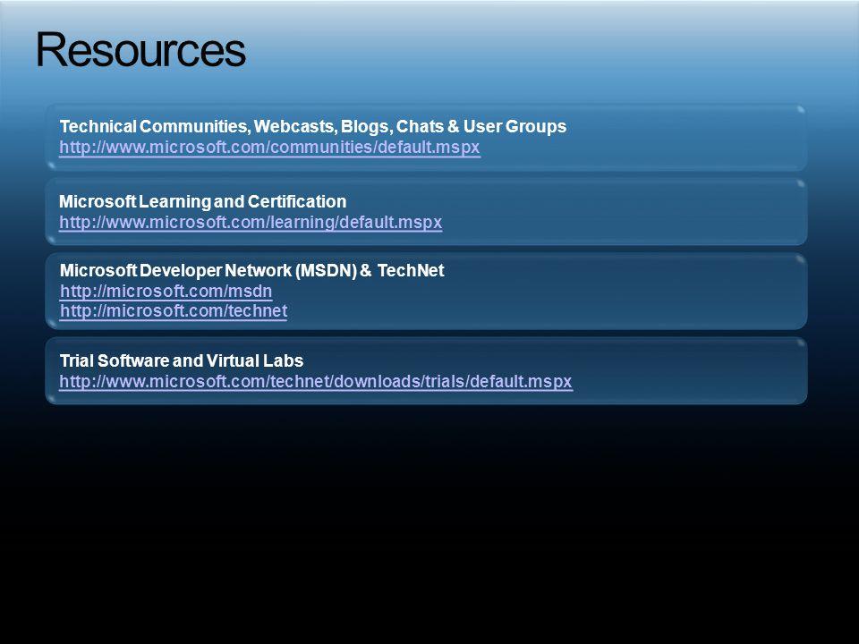 Technical Communities, Webcasts, Blogs, Chats & User Groups http://www.microsoft.com/communities/default.mspx Microsoft Developer Network (MSDN) & Tec
