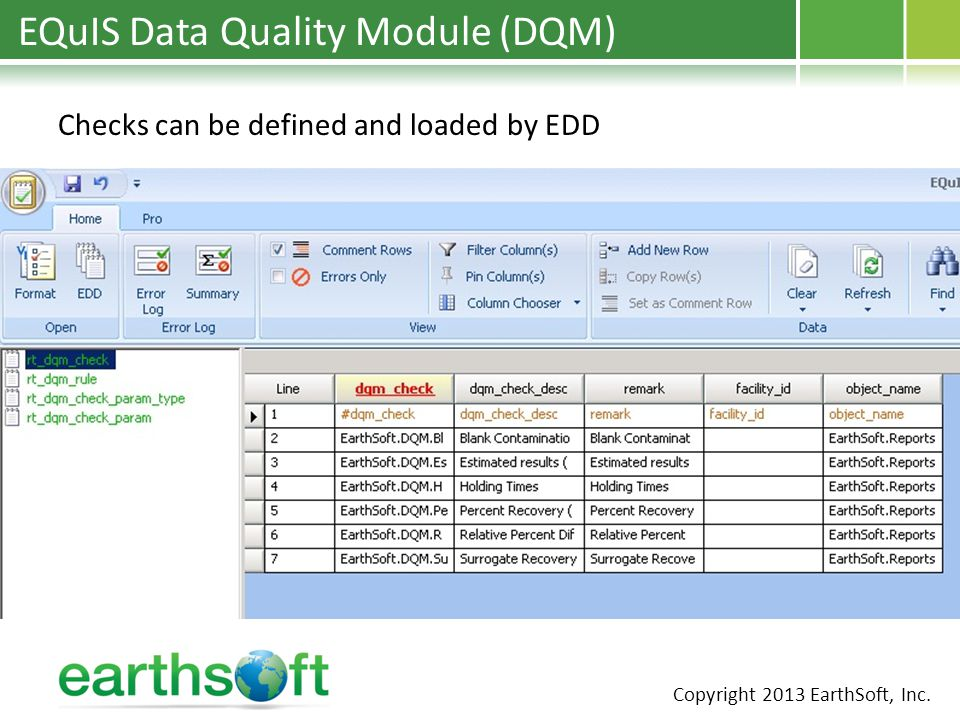 EQuIS Data Quality Module (DQM) Checks can be defined and loaded by EDD Copyright 2013 EarthSoft, Inc.