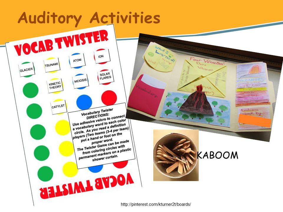 Auditory Activities http://pinterest.com/kturner2t/boards/ KABOOM