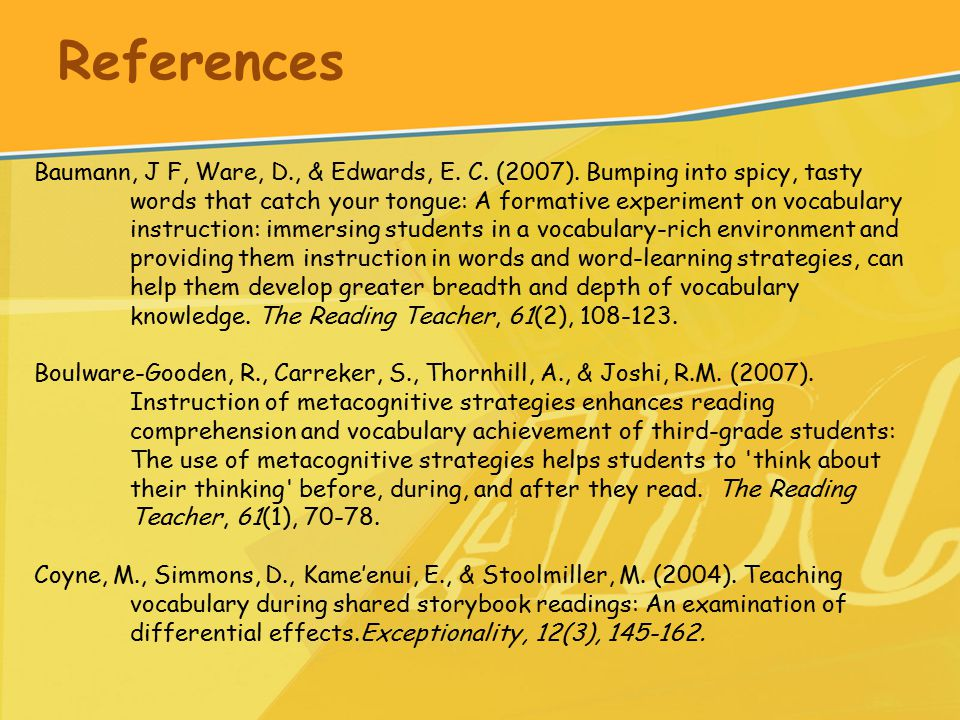 References Baumann, J F, Ware, D., & Edwards, E. C.