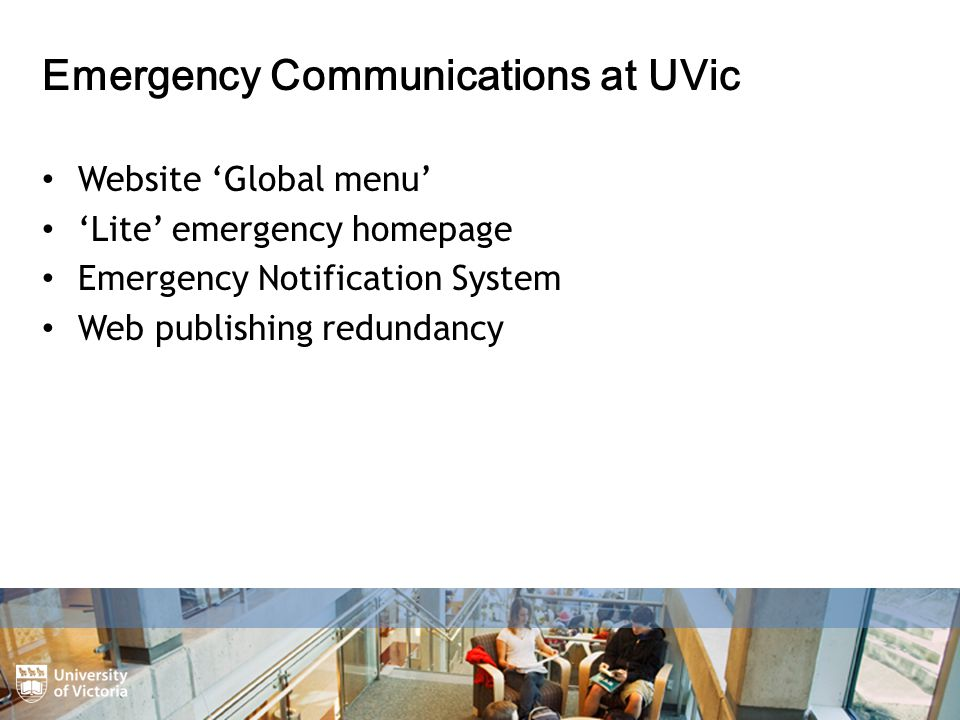 Website 'Global menu' 'Lite' emergency homepage Emergency Notification System Web publishing redundancy