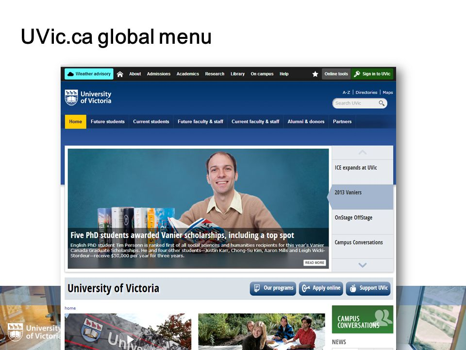 UVic.ca global menu