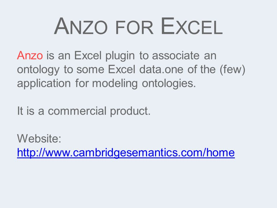A NZO FOR E XCEL Anzo is an Excel plugin to associate an ontology to some Excel data.one of the (few) application for modeling ontologies. It is a com