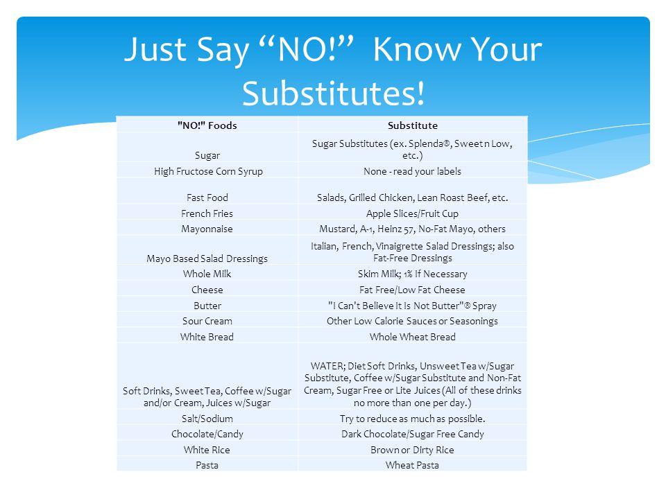 NO! FoodsSubstitute Sugar Sugar Substitutes (ex.