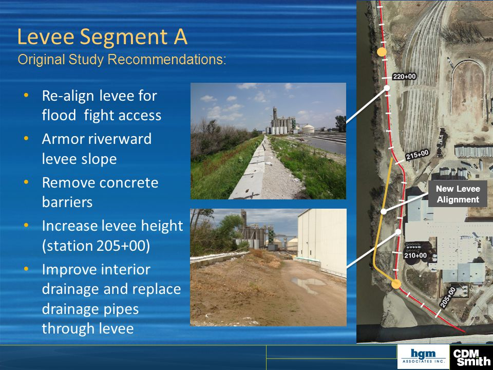 Levee Segment A Re-align levee for flood fight access Armor riverward levee slope Remove concrete barriers Increase levee height (station 205+00) Impr