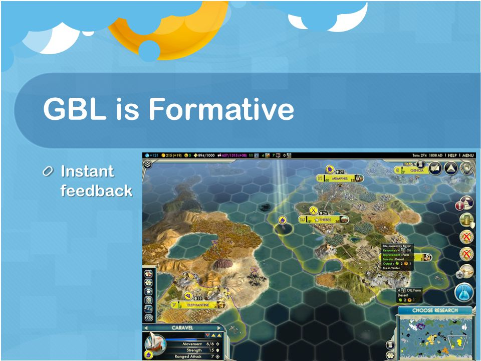 GBL is Formative Instant feedback