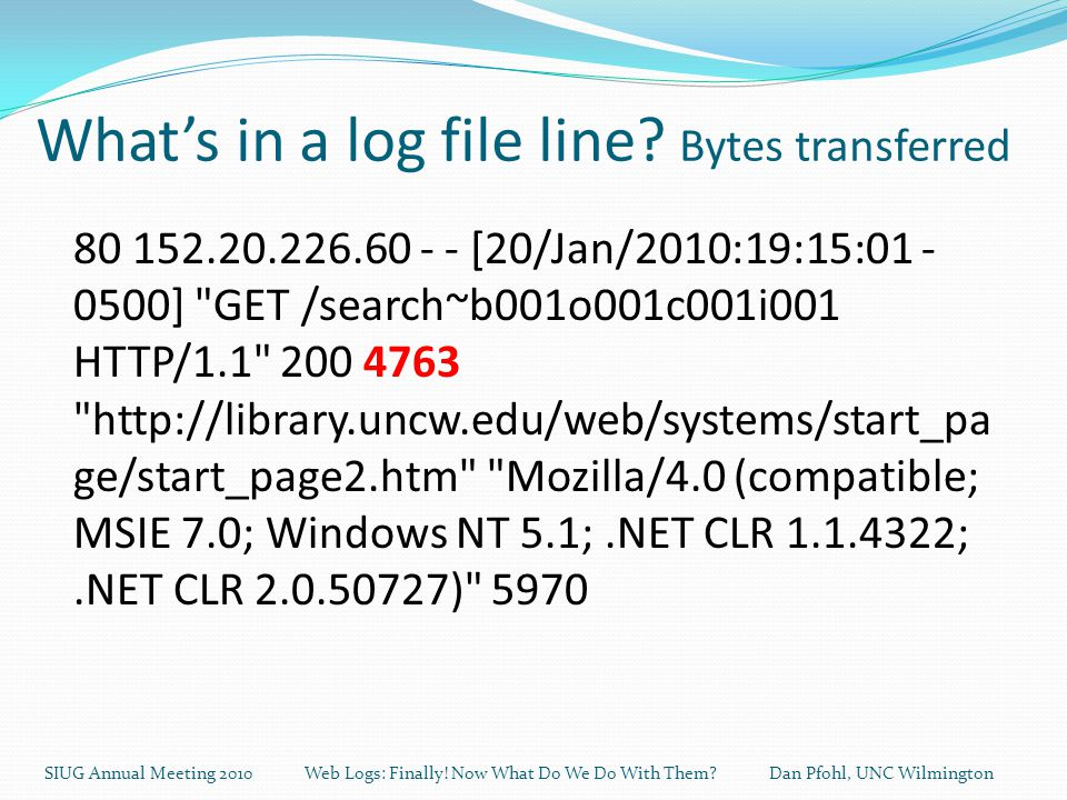 What's in a log file line.