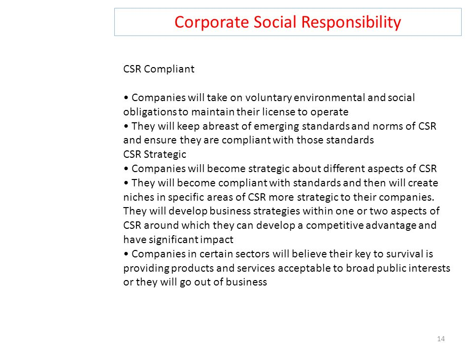 Corporate Social Responsibility 14 CSR Compliant Companies will take on voluntary environmental and social obligations to maintain their license to operate They will keep abreast of emerging standards and norms of CSR and ensure they are compliant with those standards CSR Strategic Companies will become strategic about different aspects of CSR They will become compliant with standards and then will create niches in specific areas of CSR more strategic to their companies.