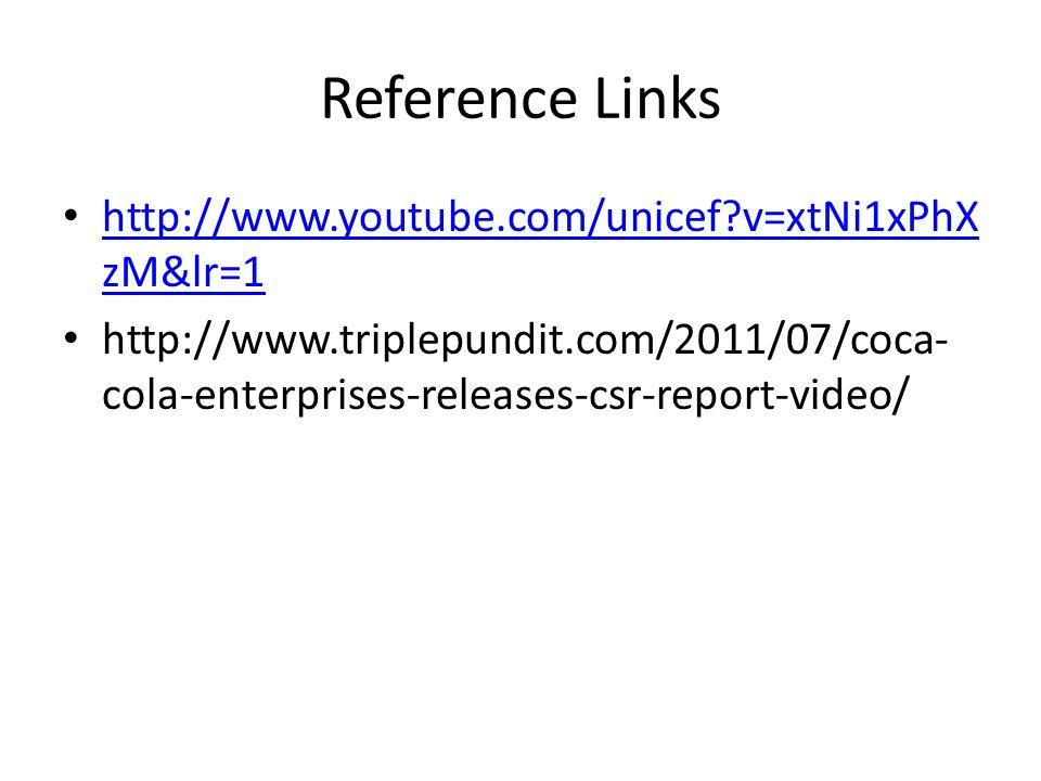 Reference Links http://www.youtube.com/unicef?v=xtNi1xPhX zM&lr=1 http://www.youtube.com/unicef?v=xtNi1xPhX zM&lr=1 http://www.triplepundit.com/2011/07/coca- cola-enterprises-releases-csr-report-video/