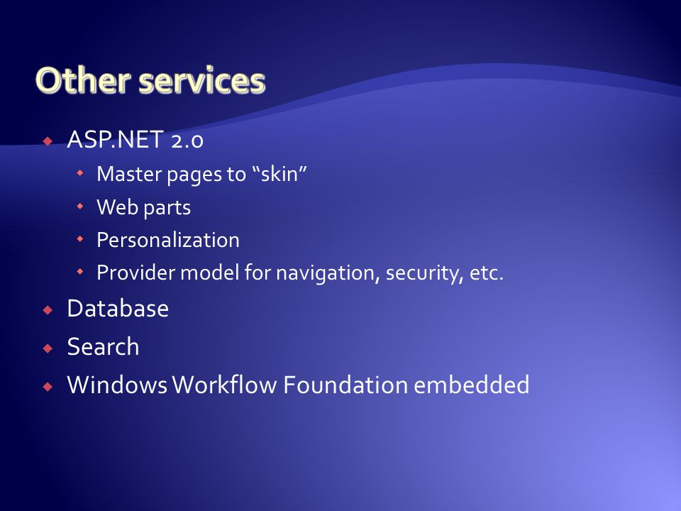  Online databases  Versioning  Documents  Alerts  Security  Workflow  Mobile device access  Web front-end