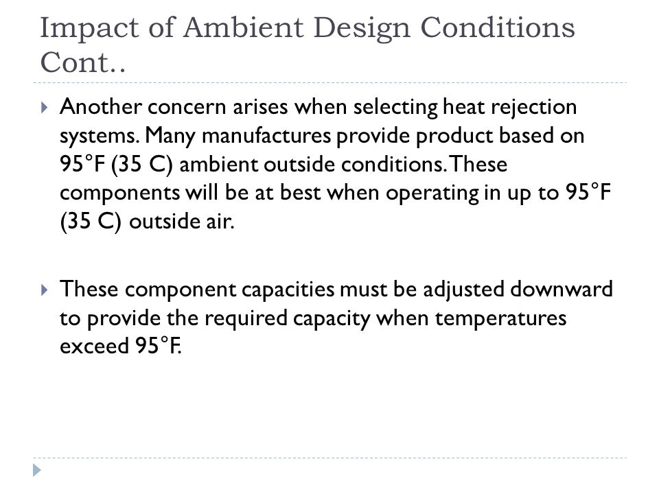Impact of Ambient Design Conditions Cont..