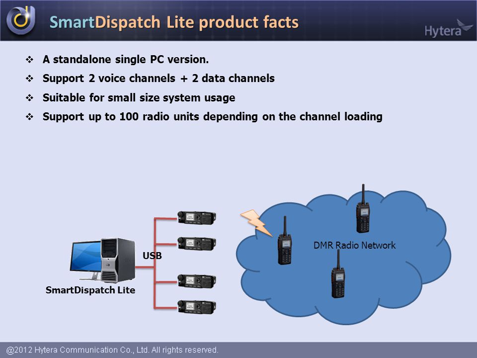 SmartDispatch Lite product facts  A standalone single PC version.  Support 2 voice channels + 2 data channels  Suitable for small size system usage